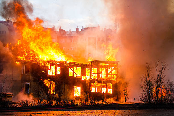 Fire in an old wooden house