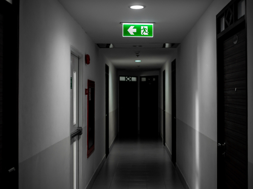 Hallways must be designed for efficient fire exit strategies.